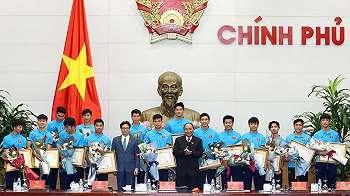 Timnas Vietnam yang kalah di final Piala Asia U-23 disambut bak pahlawan