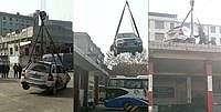 Emang Enak! Parkir Sembarangan, Mobil Ini Diangkut ke Atap