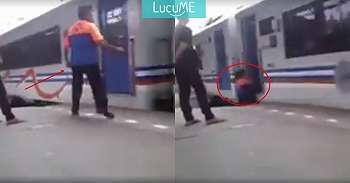 Video Seorang Porter Hampir Terlindas Kereta Ini Viral, Bikin Ngeri