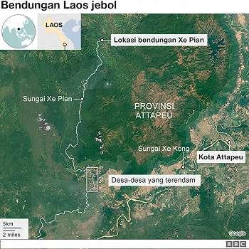 Bendungan jebol, enam desa terendam, ratusan orang 'hilang' di Laos