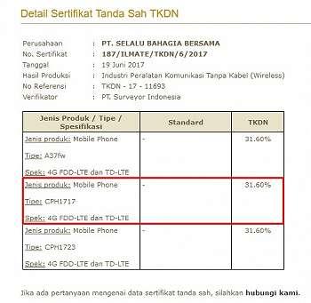 Oppo A71 (CPH1717) Kantongi Restu TKDN dan Postel, Segera Rilis di Indonesia?