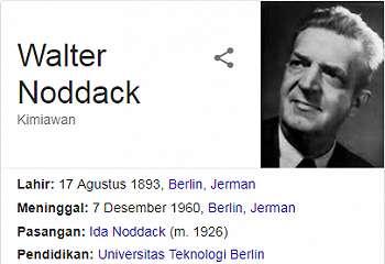 Walter Noddack - Penemun Unsur Renium